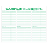 Weekly Service & Installation Scheduling Pads