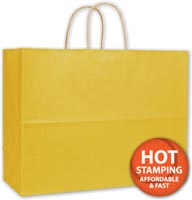 Bags, Yellow Varnish Stripe Shoppers, 16 x 6 x 12 1/2