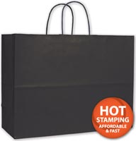 Bags, Black Varnish Stripe Shoppers, 16 x 6 x 12 1/2