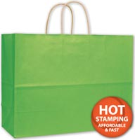 Bags, Apple Green Varnish Stripe Shoppers, 16 x 6 x 12 1/2