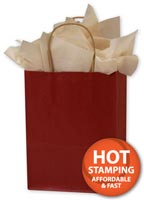 Bags, Brick Red Colour-on-Kraft Shoppers, 8 1/4 x 4 3/4 x 10 1/2