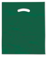 Bags, Dark Green Die-Cut Handle Bag, 9 x 12