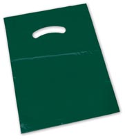 Bags, Dark Green Die-Cut Handle Bag, 15 x 18