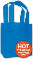 Bags, Blue Frosted High Density Shoppers, 6 1/2 x 3 1/2 x 6 1/2