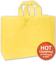 Bags, Yellow Frosted High Density Shoppers, 16 x 6 x 12