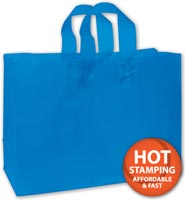 Bags, Blue Frosted High Density Shoppers, 16 x 6 x 12