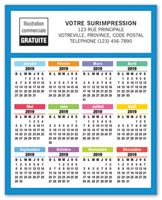 2019 Year-At-Glance Calendar Magnet French
