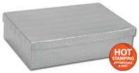 Boxes, Silver Foil Embossed Jewellery Boxes, 8 x 5 1/2 x 2