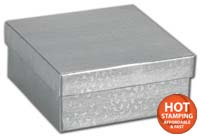 Boxes, Silver Foil Embossed Jewellery Boxes, 3 1/2 x 3 1/2 x 7/8
