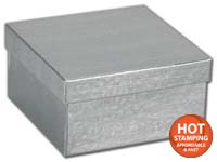 Boxes, Silver Foil Embossed Jewellery Boxes, 3 1/2 x 3 1/2 x 1 7/8