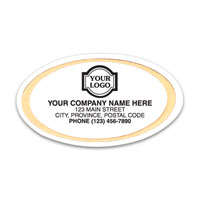 Advertising Labels & Stickers, Gold Trim Oval White Labels