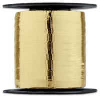 Ribbon, Curling Metallic Gold Crimped Ribbon, 3/16