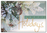 Holiday Cards, Evergreen & Gold Holiday Cards